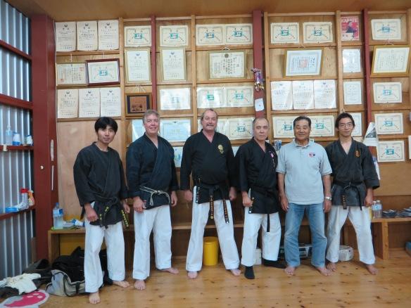 In Ishiki Hidetada sensei's dojo. Ishiki san, Fred Lohse, Neil Stolsmark sensei, Ishiki sensei, Yakashiro Kenichi sensei, Beruto san (spelled incorrectly- sorry!)