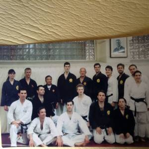 With Matayoshi sensei, Giles and Martha Hopkins,  and members of Kodokan Boston, Amherst MA, 1995