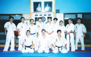 In Midori Kenji's dojo in Koniya, August 1991. After training we had a nice dinner at his house. Unfortunately I spilled soup on him, Fortunately he has a sense of humor.